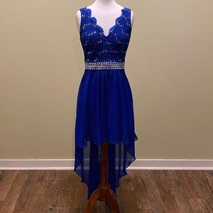 B Smart High Low Dress with Rhinestones Size 7